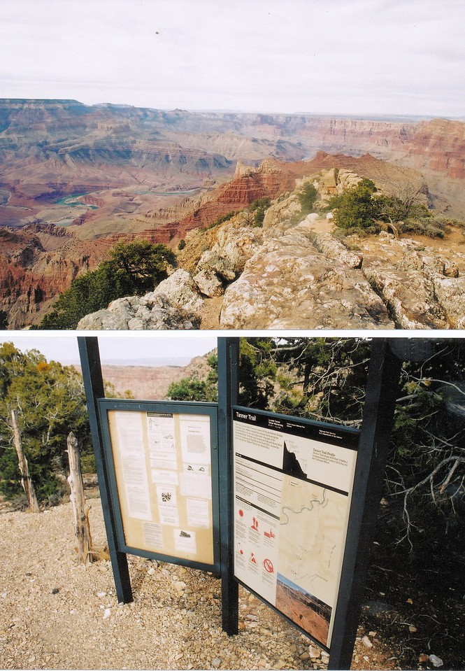 The beginning of my hikes to the crash site area starts here at Lipan Point on the South Rim of the Grand Canyon. The Tanner Trail originates here.