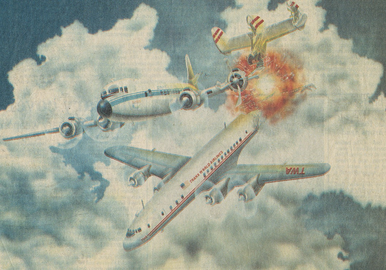 This artwork appeared in a Tucson newspaper during the early 1990s when the paper ran a featured series on air safety in the Grand Canyon. <br /> <br /> Nearly accurate with the exception of the overly dramatic fiery explosion coming from the tail of the Connie.