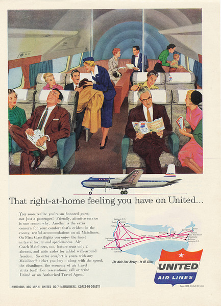 1955 United Air Lines advertisement for the new Douglas DC-7. <br /> <br /> At a cruising speed of 365 mph, The DC-7 was one of the fastest and most advanced airliners of it's time.