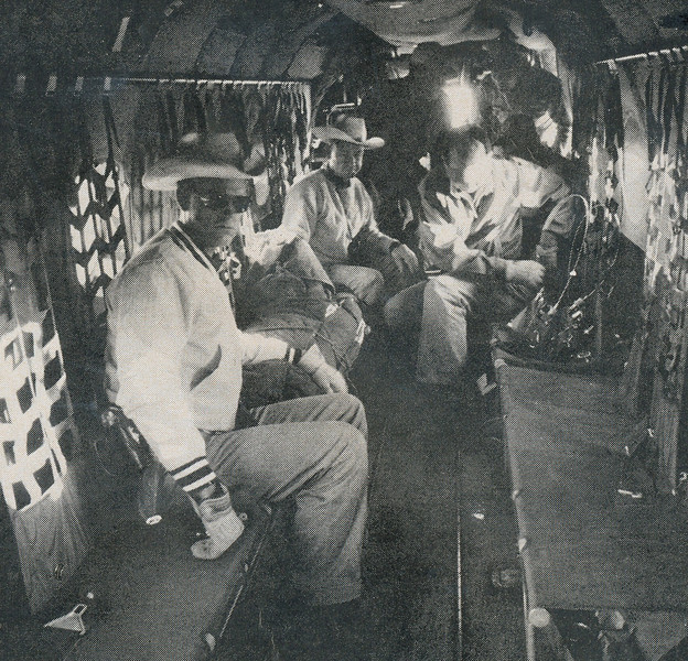 RECOVERY OPERATIONS - JULY 1956<br /> <br /> Recovery team including officials from United Air Lines prepare for takeoff in a Army H-21 Piasecki Helicopter. (Time)
