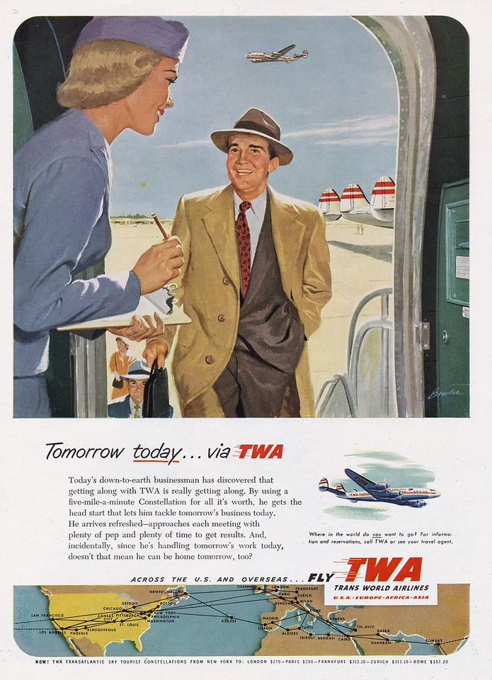 1954 TWA Super Constellation advertisement.