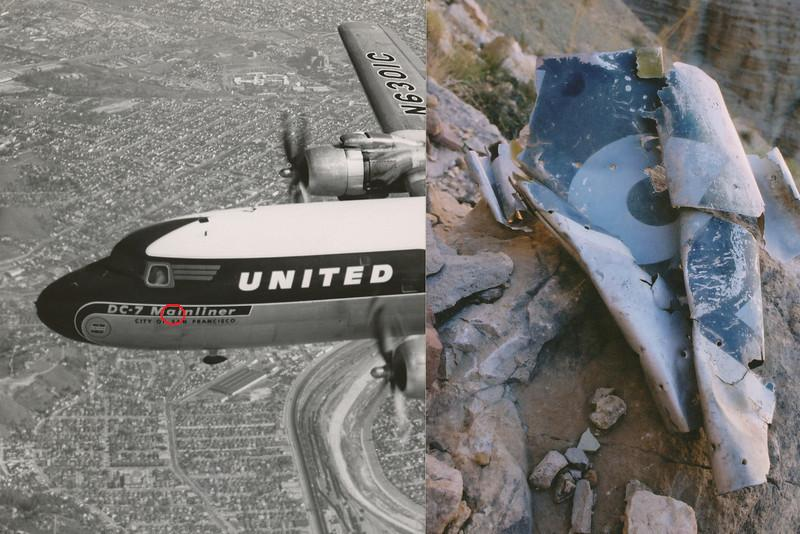 "This fragment was located on the north talus slope below the impact site of UAL Flight 718. Although crushed, I could still make out the painted white letters ""ai"" from the word ""Mainliner"" and portions of the black painted lettering that would have spelled out the name ""Vancouver"". <br /> <br /> Even more pronounced was the compressed accordion-like crushing of the metal on the left edge of the fragment and the tearing of rivets from the right side. In all probability the fragment came from the forward left side of the DC-7 as seen in the photo. (2002 LostFlights)"