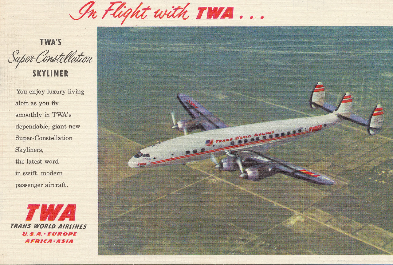 N6902C on a period postcard for TWA. Needless to say after the accident, TWA no longer produced postcards or advertisements that featured the ill-fated airliner.