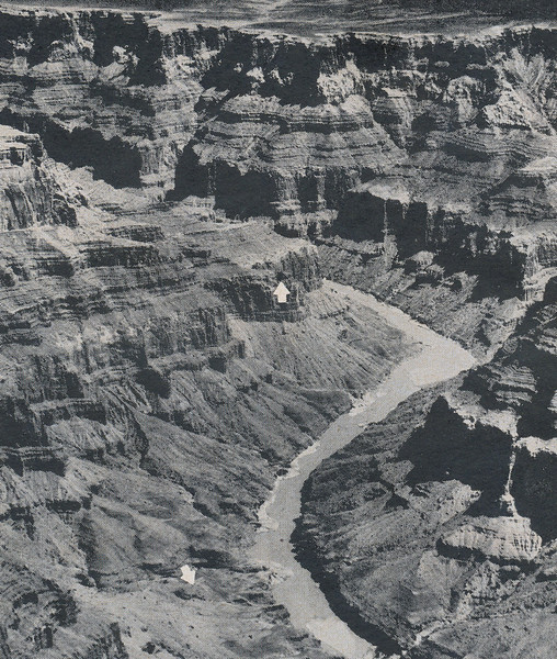 This aerial photograph taken by a LIFE Magazine photographer during the recovery operation shows the location of the two crash sites and the harsh terrain. <br /> <br /> The bottom arrow points to the impact point of TWA Flight 2 on Temple Butte. The upper arrow points to the main impact site of UAL Flight 718.