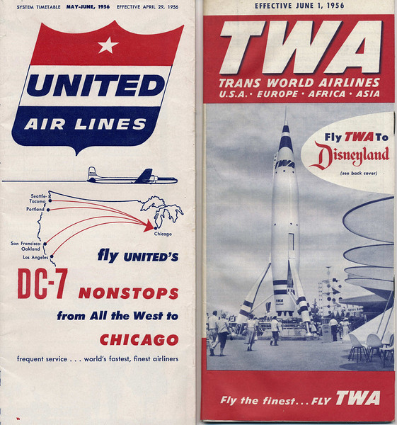 Passengers that were booked on the June 30th UAL Flight 718 and TWA Flight 2 would have referred to these airline timetables for departure and flight time information. (LostFlights Archive Photo)