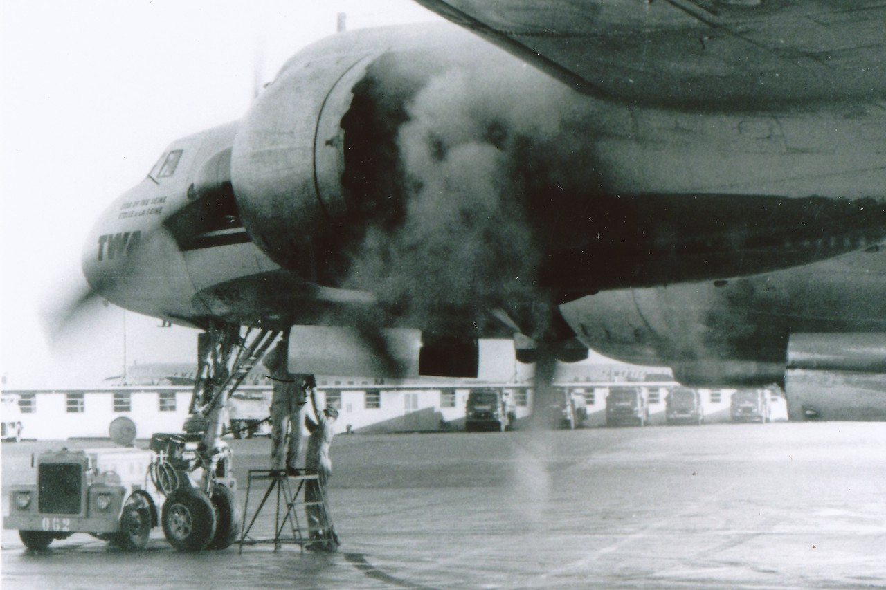 A undated and rare photo of N6902C starting engines during a maintenance check at Chicago's Midway Airport. (LostFlights Archive Photo)