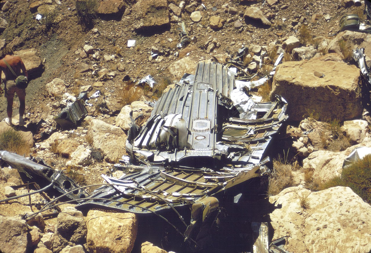 This section of cabin structure was one of the largest fragments at the TWA main impact site. (LostFlights Archive Photo)