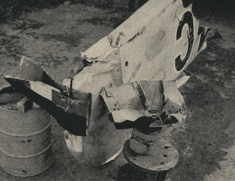Matching paint smudges and bends in metal allowed investigators to determine the angles of the collision. In this CAB photo we can see how the DC-7's left wingtip made contact with the Constellation's outer vertical tail fin. (Life)