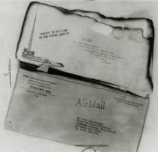 The U.S. Postal Service recovered several pieces of air mail that was carried aboard TWA Flight 2. <br /> <br /> Some of this damaged and charred mail was sorted in Flagstaff and forwarded to the addressed recipients in postal service envelopes. (LostFlights Archive Photo)