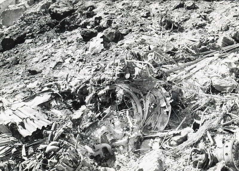 TWA Flight 2 impacted the north slope of a ravine on the northeast corner of Temple Butte. A majority of the aircraft cabin burned at the bottom of the ravine.