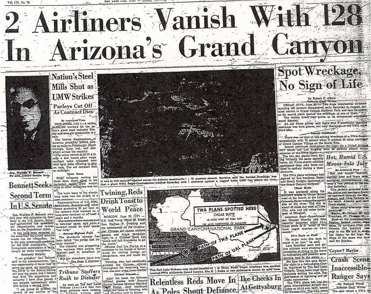 Initially, the airliners were reported as missing over the vast Northern Arizona desert. Vague reports of wreckgage were reported.