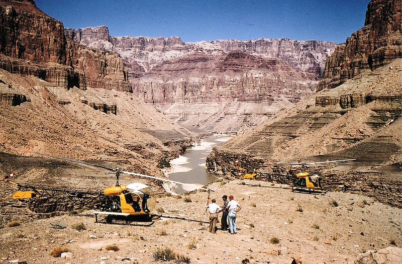 RECOVERY OPERATIONS - OCTOBER 1956:<br /> <br /> During October 1956 the CAB chartered two Bell 47 helicopters to remove wreckage that were considered key to the accident investigation. <br /> <br /> With seasonal temperatures in the canyon much cooler, the wreckage recovery operation was not only a success but safer. (LostFlights Archive Photo)