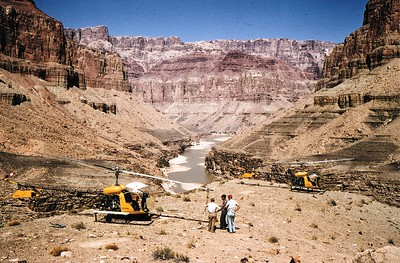 RECOVERY OPERATIONS - OCTOBER 1956:  During October 1956 the CAB chartered two Bell 47 helicopters to remove wreckage that were considered key to the accident investigation.   With seasonal temperatures in the canyon much cooler, the wreckage recovery operation was not only a success but safer. (LostFlights Archive Photo)
