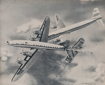 """This artwork of the collision by Milford """"Mel"""" Hunter was published by LIFE Magazine in their April 29, 1957 issue.   Mr. Hunter was given early and unrestricted access to the CAB's data and preliminary findings, enabling him to produce an illustration of what likely occurred at the moment of the collision. (LIFE Magazine)"""