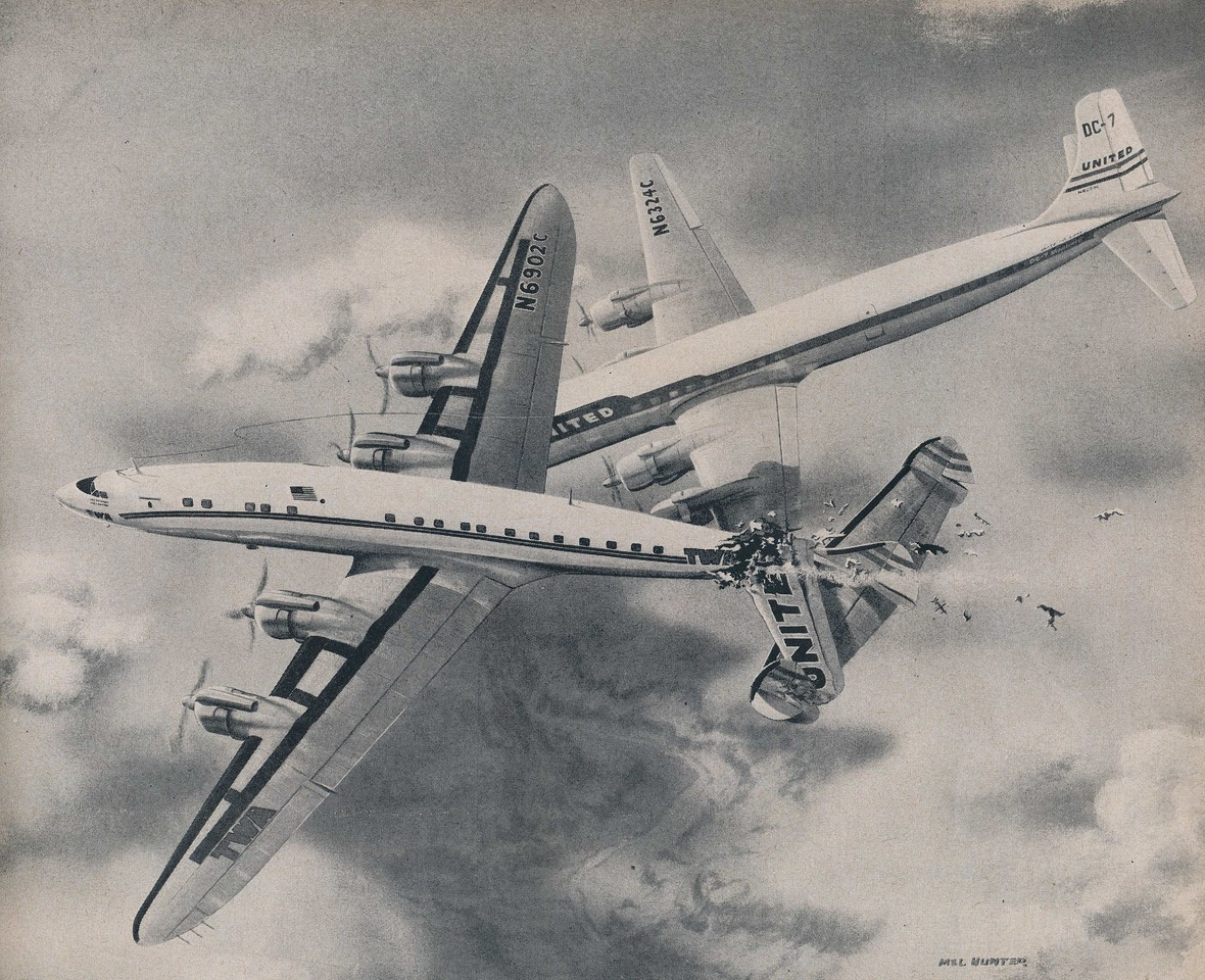"This artwork of the collision by Milford ""Mel"" Hunter was published by LIFE Magazine in their April 29, 1957 issue. <br /> <br /> Mr. Hunter was given early and unrestricted access to the CAB's data and preliminary findings, enabling him to produce an illustration of what likely occurred at the moment of the collision. (LIFE Magazine)"