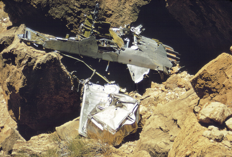 Lower fuselage fragment at TWA main impact site. (LostFlights Archive Photo)