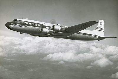"""Photographed in-flight is United Air Lines Douglas DC-7, N6302C bearing the same livery that """"Mainliner Vancouver"""", N6324C would have had at the time of the accident. (LostFlights Archive Photo)"""