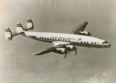 """AIRCRAFT INVOLVED:  Lockheed L-1049 Super Constellation, (N6902C) """"Star of the Seine"""" photographed for a pre-delivery photo shoot.   On May 22, 1952, ship #902 was TWA's second Super Constellation to be delivered to the airline from an original order of 10 aircraft placed by the airline on December 5, 1950.   The aircraft had accumulated 10,519 flight hours by June 30, 1956. (LostFlights Archive Photo)"""
