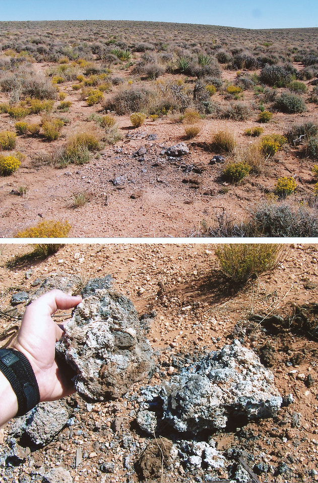 Aluminum slag either from one of the impact sites or from aluminum smelting was found at the salvage site. The smelting of aircraft wreckage into aluminum ingots is a common way to transport large amounts of alloy materials. (2007 LostFlights)