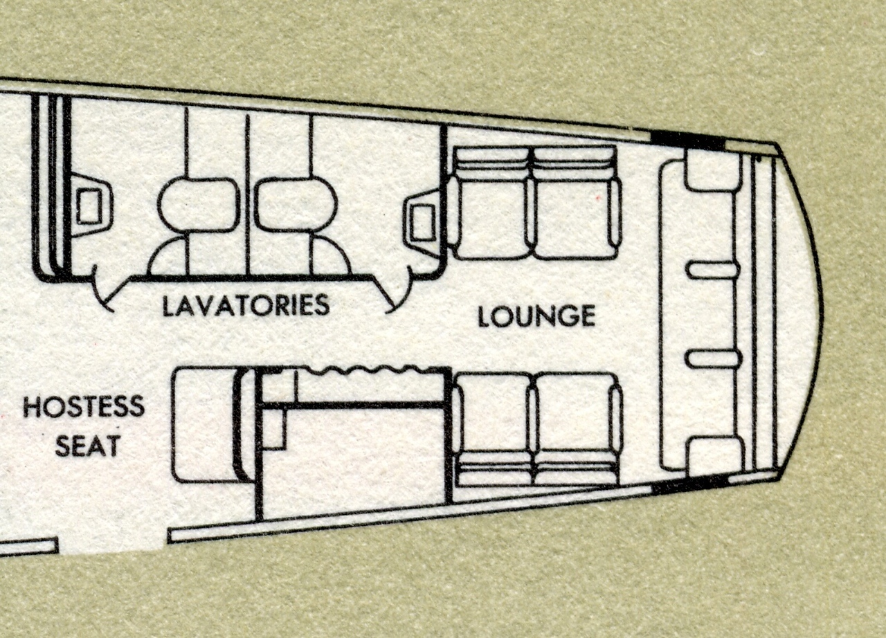 L-1049 AFT -CABIN FLOOR PLAN<br /> <br /> The floor plan of the Constellation's aft cabin featured two lavatories, Hostess jump-seat and workstation, a coat closet and lounge. <br /> <br /> This area of the aircraft was heavily damaged during the initial collision with the DC-7 aircraft.