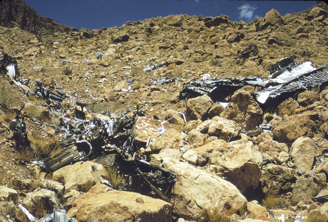 This photo was taken from the bottom of the ravine while looking up the north slope towards the point of initial impact. (LostFlights Archive Photo)