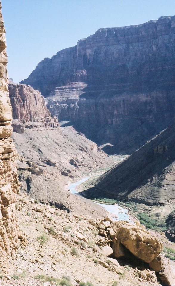 On the South slope of Chuar Butte looking towards the Little Colorado River (LCR) and the LCR Gorge. (2002 Trip)