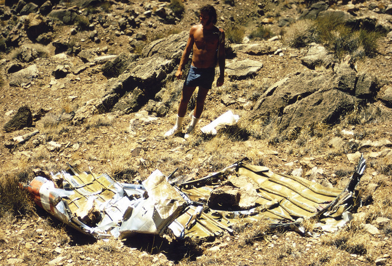 The corner of visible red and white paint on this debris identifies this fragment as coming from the Constellation's fuselage. (LostFlights Archive Photo)