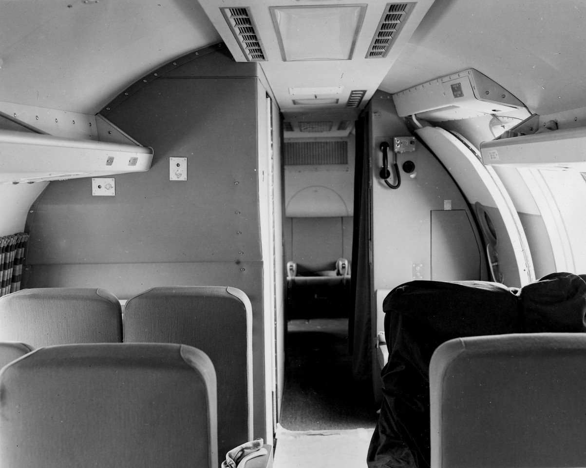 The pressurized cabin of the Constellation was ruptured during the collision with United Flight 718. <br /> <br /> Most of the upper ceiling panels down to window level of the aft passenger cabin were torn away as the DC-7's left wing pushed through the aft section of the Constellation. (LostFlights Archive Photo)