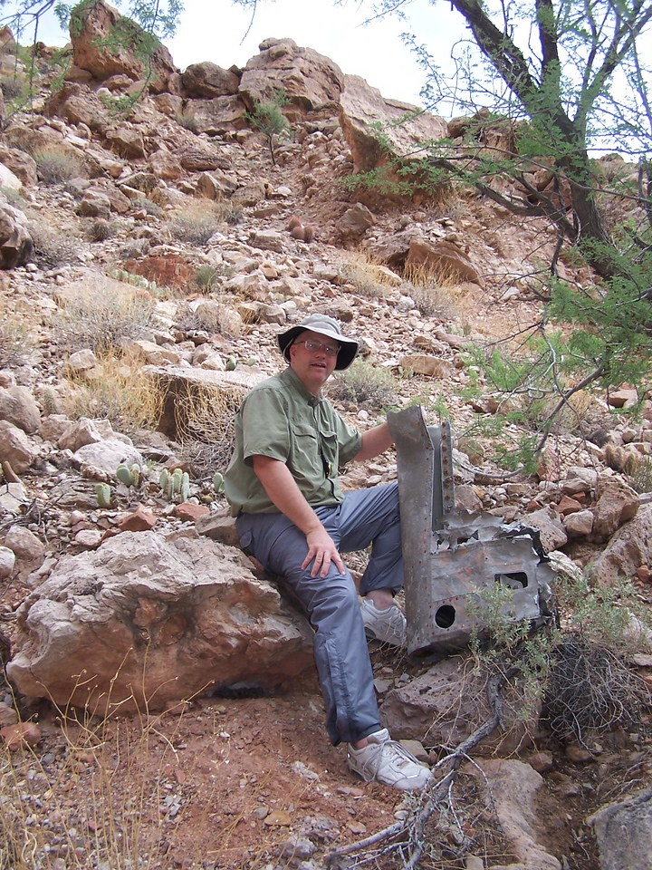 Douglas DC-7 wing fragment located during the August 2006 commercial river trip. <br /> <br /> This fragment was discovered on the opposite side of the ledge from the initial impact point.