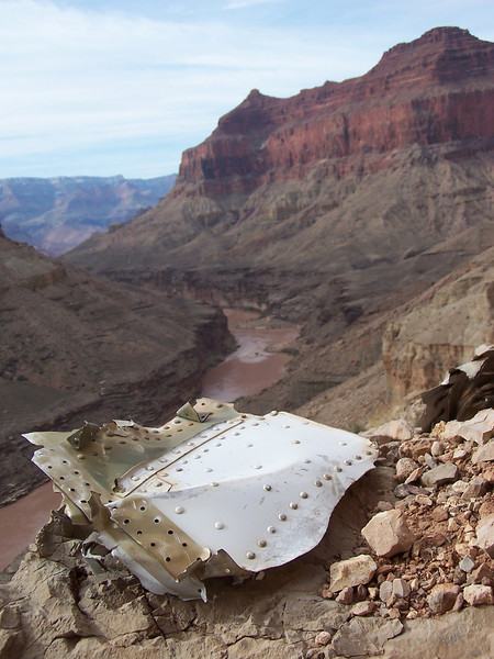 Fragment of UAL Flight 718 fuselage structure on Chuar Butte. <br /> <br /> In the background about 1.5 miles away is Temple Butte and the main impact site of TWA Flight 2.