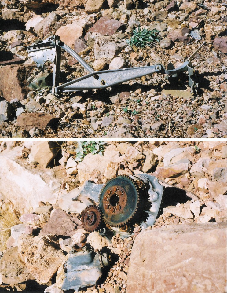 Some of the many smaller parts from the DC-7 can still be found on the talus slopes of Chuar Butte. (2002 Trip)