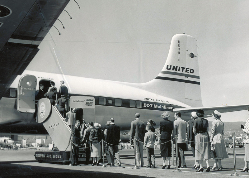 "Passengers seen boarding Flight 718, ""The Hollywood"" from Los Angeles. This promotion photo was probably taken during United's inauguration of the new service from Los Angeles, California. (LostFlights Archive Photo)"