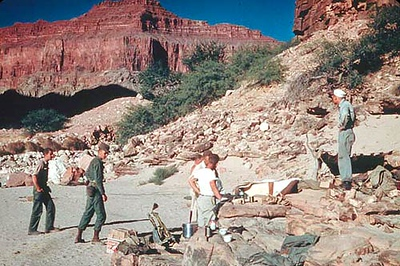 Army crews setting up a base camp below Chuar Butte during the July 1956 recovery. (LA Times Photo)
