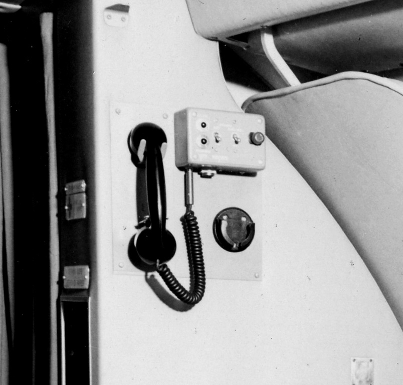 The Hostess used this control and handset to make passenger/cabin announcements and to communicate with the flight-deck.<br /> <br /> All this equipment was torn away when the bulkhead was pulled from the aircraft during the collision sequence.