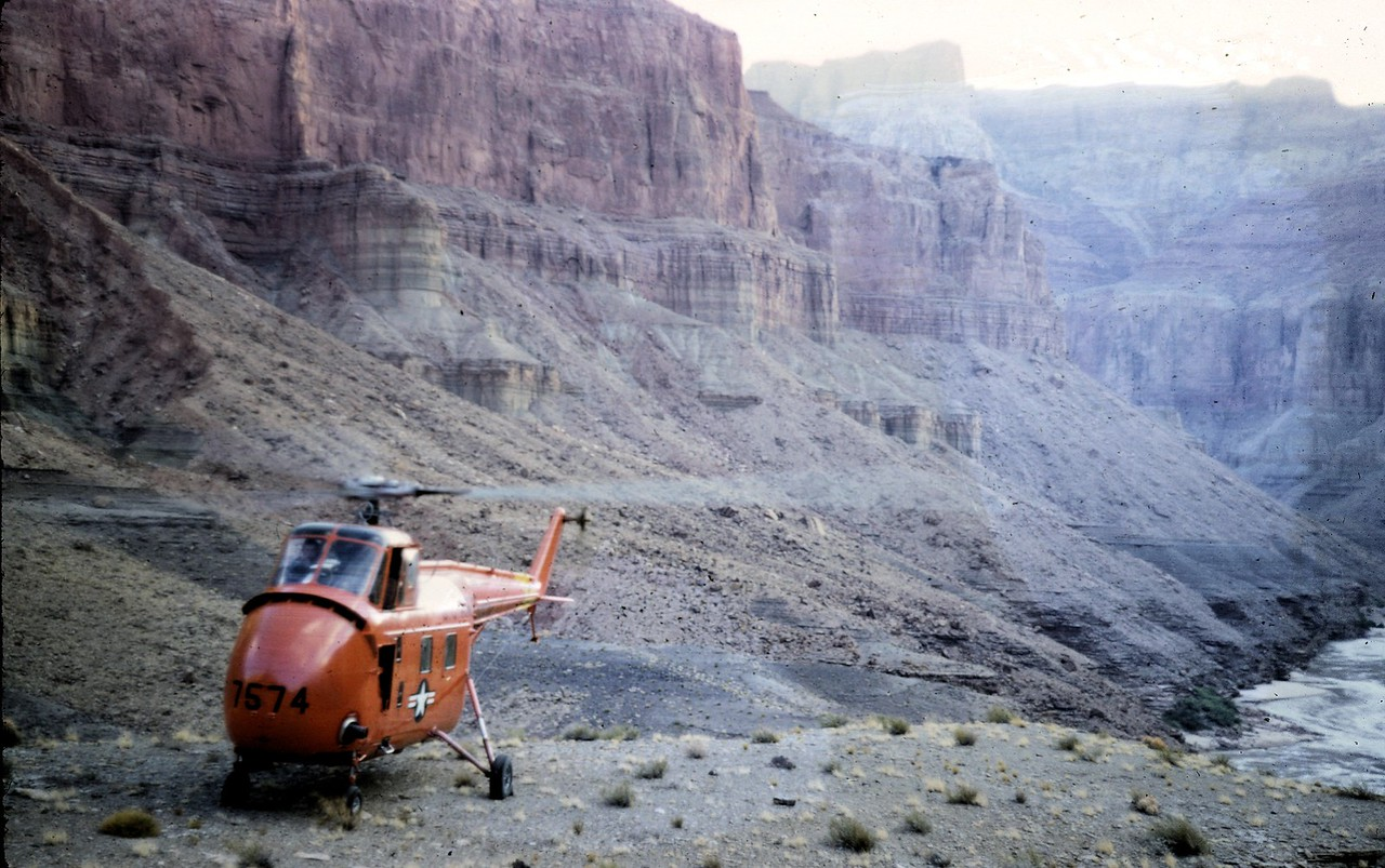 A variety of helicopters were used in the recovery operation and all were put to the test in the canyon's strong gusty winds and high summer temperatures. (NPS Photo)