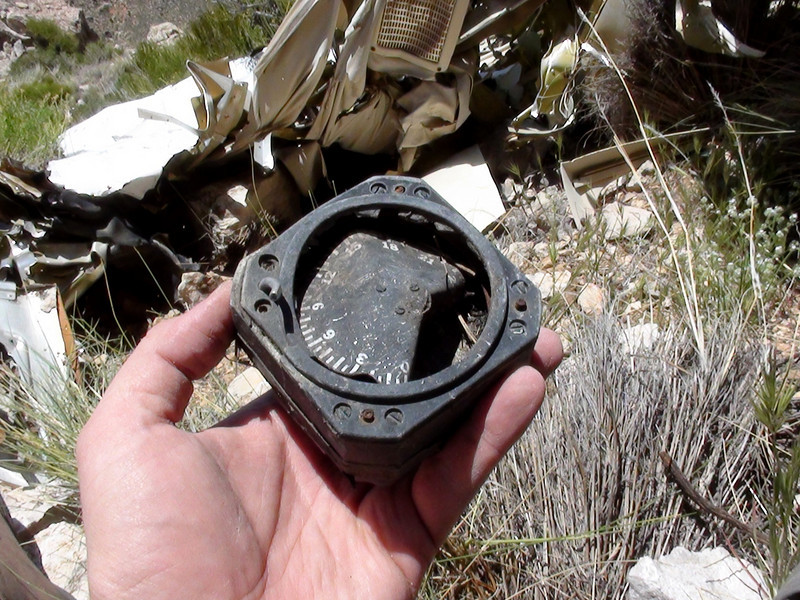 This navigation indicator survived the post crash fire, but was heavily damaged by the impact.