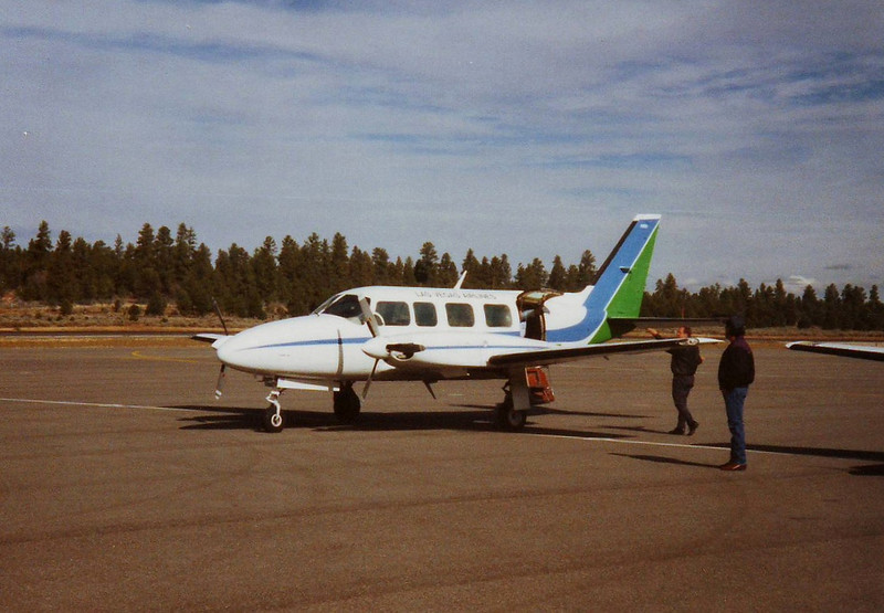 The Grand Canyon Airport was a regular stop for Las Vegas Airlines. The accident aircraft seen at the Grand Canyon Airport during the early 1980s.