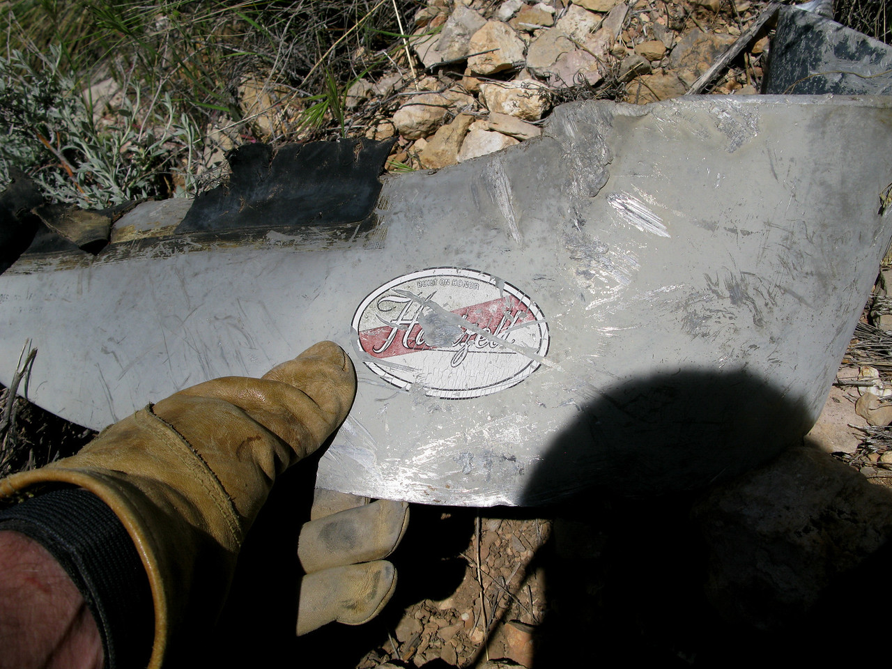 The Hartzell manufacture's logo sticker was visible on the face of this propeller blade.
