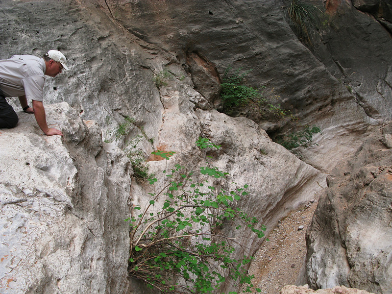 This pour-off formed a thirty foot vertical drop which ended my second try. Without a climbing rope, it was just too much of a risk to hand-climb down.<br /> <br /> It would be nearly two years before I could make a third attempt to reach the crash of Las Vegas Airlines Flight 88.