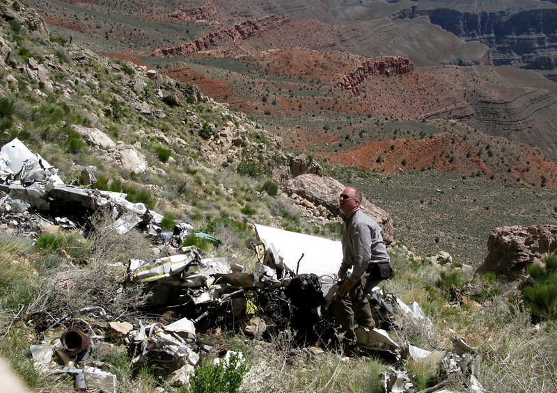 Examining the remains of Flight 88's left wing structure and engine. <br /> <br /> With the steep slope and loose rock, there was always an opportunity for injury. By far one of the most dangerous sites I have ever visited.