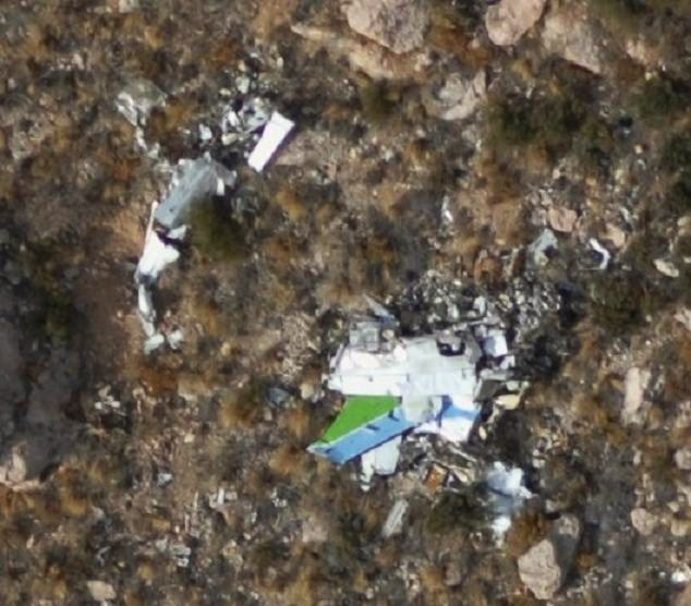 This aerial photo taken during 2008 illustrates the total destruction of the aircraft. The only identifiable fragment visible is the distinctive blue/green paint scheme from the aircraft's tail section.