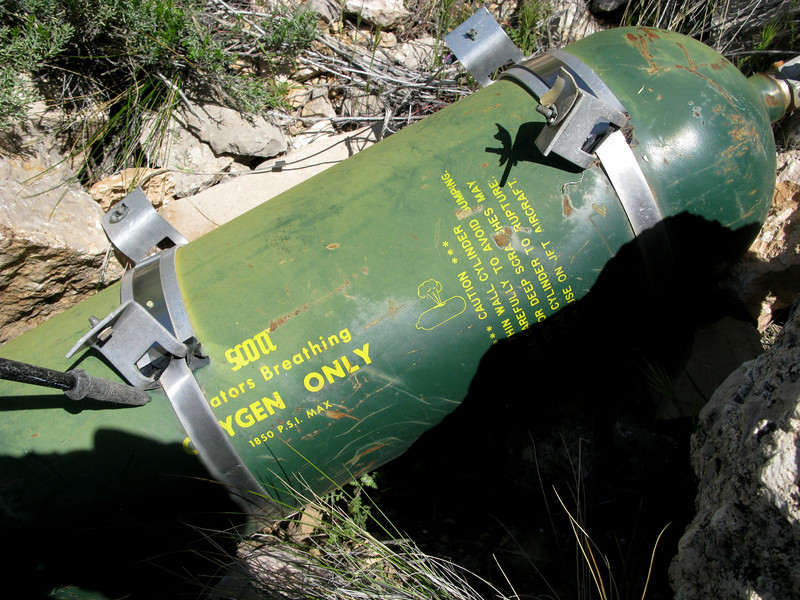 This large oxygen cylinder would have been located in the aft portion of the aircraft.