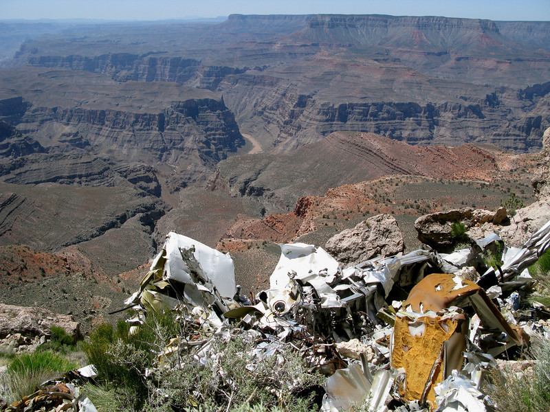 This spectacular view of the canyon gorge and Colorado River is marred by the wreckage of Flight 88. <br /> <br /> The photo does illustrate the direction and terrain that the flight passed over prior to it's impact with the mesa.