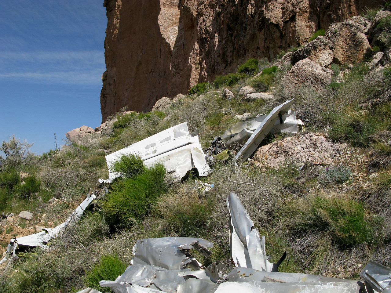 The left wing structure came to rest about thirty feet from the fuselage and tail section.