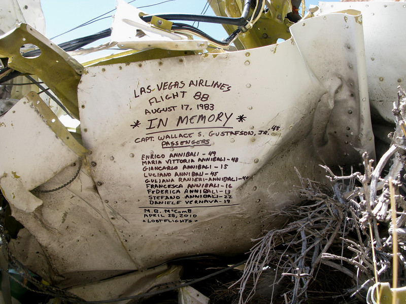Before leaving the crash site, I took a black marker and penned a makeshift memorial to those that had perished on Las Vegas Airlines Flight 88.<br /> <br />               * IN MEMORY*<br /> <br /> Capt. Wallace S. Gustafson, Jr. - (48)<br /> Enrico Annibali - (49)<br /> Maria Vittoria Annibali - (48)<br /> Giancarlo Annibali - (15)<br /> Luciano Annibali - (45)<br /> Guliana Ranieri-Annibali - (44)<br /> Francesca Annibali - (16)<br /> Federica Annibali - (13)<br /> Stefano Annibali - (22)<br /> Daniele Vernava - (19)
