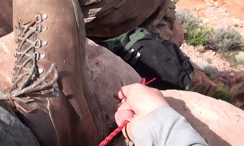 I had to lower my backpack down several places during the hike. With a heavy pack it's the safest method to scramble down steep exposed breaks in the terrain.
