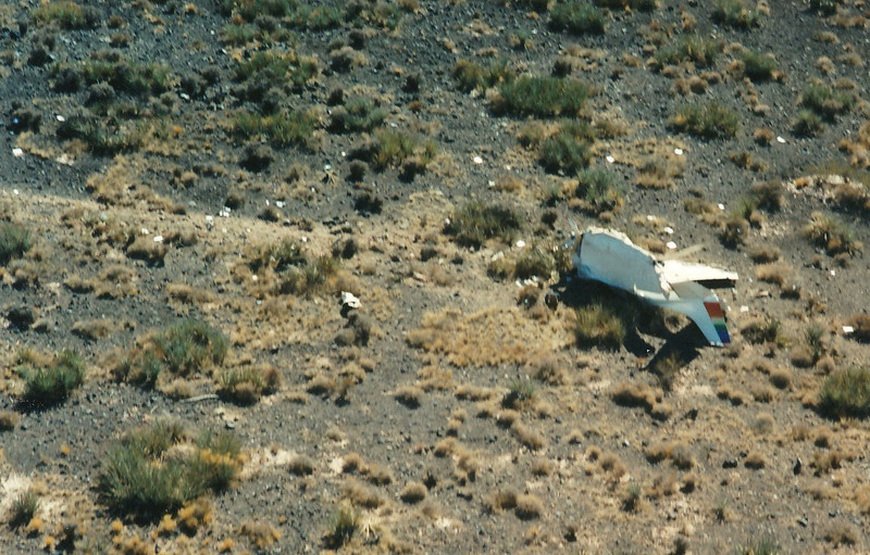 "The distinctive Scenic Airlines ""rainbow"" colored rudder appears to have survived the accident."