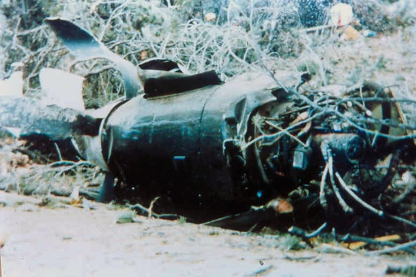 The left engine and propeller was ripped from its mounts.