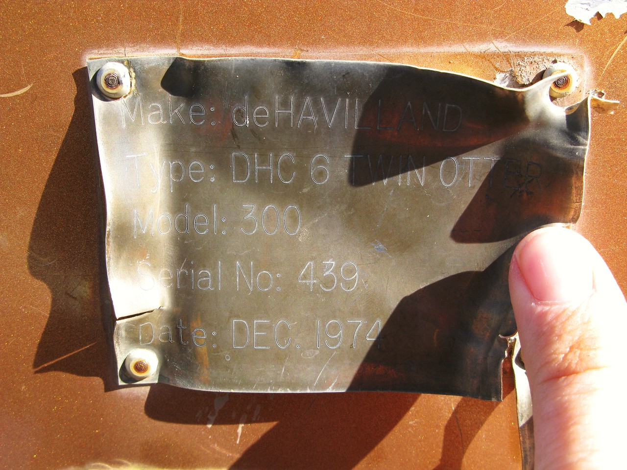 Near the aft section of the fuselage I located the aircraft data placard which is required on all U.S. civilian aircraft. This placard is different than the original aircraft manufacture's placard located in the aft baggage compartment.