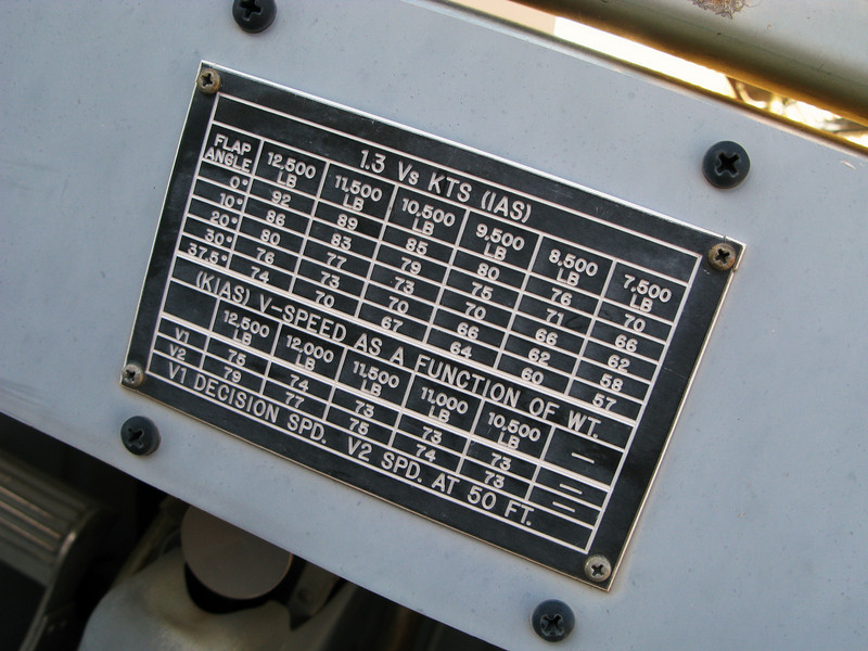 The V-Speed reference card was used by the crew to determine takeoff and approach speeds based on air temperature and aircraft weight. <br /> <br /> Today, a flip card is used to determine these values in the VistaLiner.